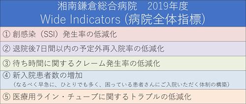 2019年度 5つのWide Indicators(病院全体指標)